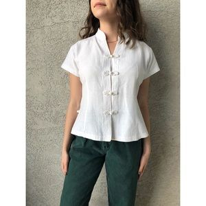 VINTAGE   Asian inspired 100% raw silk top